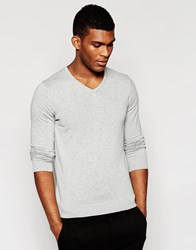 United Colors Of Benetton 100 Cotton Knitted V Neck Jumper Grey