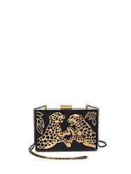 Valentino Cheetah Wood And Metal Clutch Black