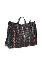 Clare V. Simple Tote Bag Black Pacific Cherry Red