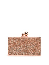 Sophia Webster Clara Glitter Crystal Embellished Box Clutch Rose Gold