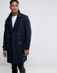 Pull And Bear Pullandbear Wool Coat In Navy Navy Blue