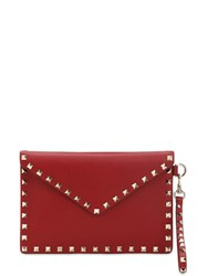 Valentino Garavani Rockstud Embellished Leather Pouch Valentino Red
