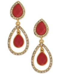 Anne Klein Gold Tone Faceted Stone And Crystal Orbital Drop Earrings Red Orange