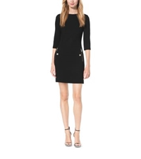 Michael Kors Boucle Crepe Boat Neck Shift Dress Black
