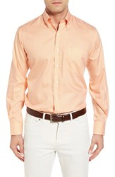 Peter Millar Men's Crown Soft Gingham Regular Fit Sport Shirt Summer Orange