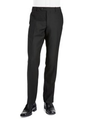 Black Brown Jack Fit Slim Woven Flat Front Dress Pants Black