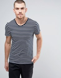 Casual Friday T Shirt In Stripe Navy White