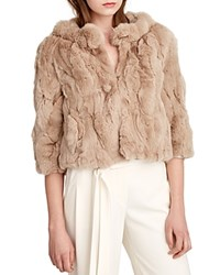 Halston Heritage Cropped Fur Coat Champagne
