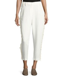 Brunello Cucinelli Loose Sequin Trim Tuxedo Cropped Pants Off White