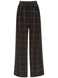Andrea Marques Check Silk Palazzo Pants Grey