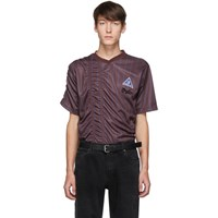 Martine Rose Burgundy And Blue Ruched Football T Shirt