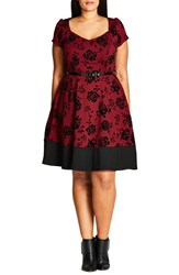 City Chic Plus Size Women's Flocked Lover Fit And Flare Dress Ruby