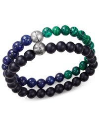 Steve Madden Men's 2 Pc. Multi Beaded Bracelet Set Silver