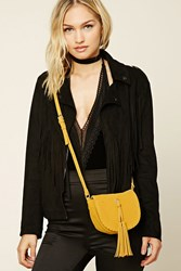 Forever 21 Faux Suede Stitched Crossbody Mustard