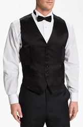 David Donahue Silk Vest Black Satin
