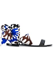 Emilio Pucci Textile Wrap Sandals Women Cotton Leather 40 Blue