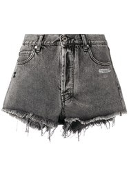 Off White Frayed Edge Shorts Grey