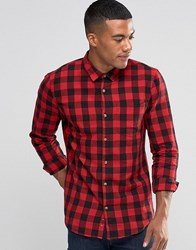 Pull And Bear Pullandbear Check Shirt In Red Black In Regular Fit Red