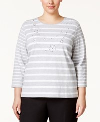 Alfred Dunner Plus Size Embellished Striped Top Silver