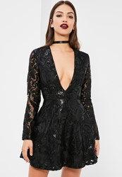 Missguided Black Sequin Plunge Long Sleeve Skater Dress