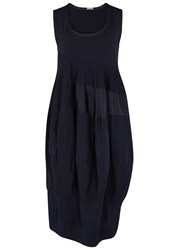 High Pious Navy Jersey And Shell Dress