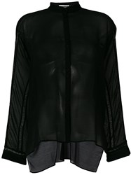 Isabel Benenato Sheer Panelled Shirt Black