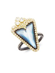 Armenta Old World Mother Of Pearl Sapphire Quartz Diamond 18K Yellow Gold And Sterling Silver Ring
