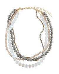 Emily And Ashley Multi Strand Crystal Necklace White