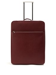 Valextra Leather Cabin Suitcase Burgundy