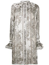 Roberto Cavalli Frill Detail Floral Shirt Dress Women Silk 42 White