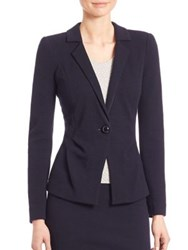 Armani Collezioni Double Wool Crepe Jersey Blazer Midnight Blue