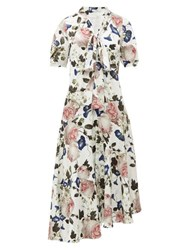 Erdem Jayla Crepe De Chine Midi Dress White Print
