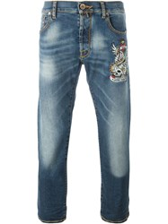 Jacob Cohen Tattoo Embroidery Jeans Blue