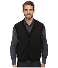 Perry Ellis Tonal Multi Pattern F5 Button Vest Black Men's Sweater