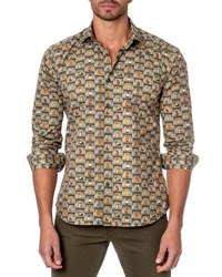 Jared Lang Owl Print Sport Shirt Green Pattern