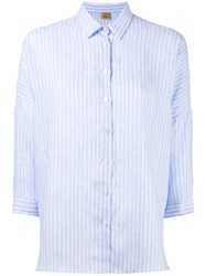Fay Striped Three Quarter Sleeve Shirt Blue