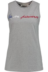 Etre Cecile Printed Cotton Jersey Tank Gray
