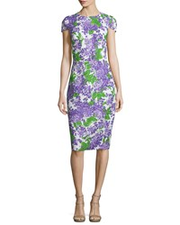 Michael Kors Collection Cap Sleeve Floral Print Sheath Dress Optic White Lilac Optic White Purple Women's Size 2