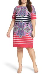 Eliza J Plus Size Women's Stripe And Paisley Shift Dress
