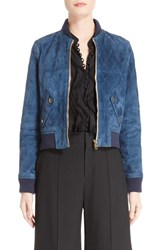 Chloe Women's Quilted Suede Bomber Jacket