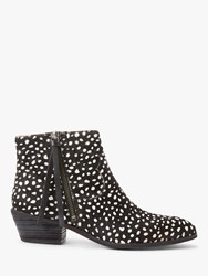 And Or Paquita Leopard Pony Hair Ankle Boots Black White