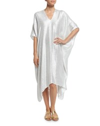 Marie France Van Damme Metallic Boubou Caftan Coverup White Metallic