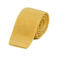 40 Colori Yellow Solid Silk Knitted Tie Yellow Orange
