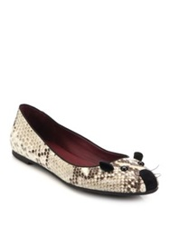 Marc By Marc Jacobs Snake Embossed Leather Mouse Ballet Flats Natural Ink