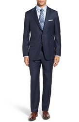 Hickey Freeman Men's 'Beacon' Classic Fit Check Wool Suit Navy