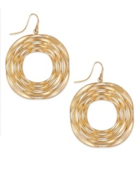 Sis By Simone I Smith Destiny Circle Drop Earrings In 18K Gold Over Sterling Silver