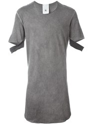 Lost And Found Rooms Cut Out Sleeves Long T Shirt Grey