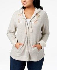 Styleandco. Style Co Plus Size Embroidered Zip Hoodie Created For Macy's Grey