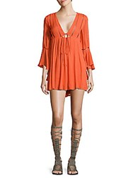 Free People Cutout Long Sleeve Peasant Dress Peach