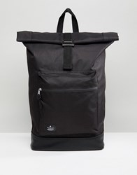 Asos Rolltop Backpack In Black With Faux Leather Base Black